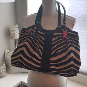 Coach Black and Tan zebra striped purse
